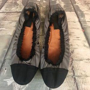 Lanvin Gray Black Satin Ballet Flats